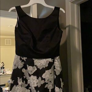 2 piece black and white floral formal dress
